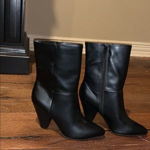 Black mid calf boots